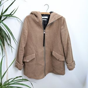Mango Tan Hooded Wool Coat